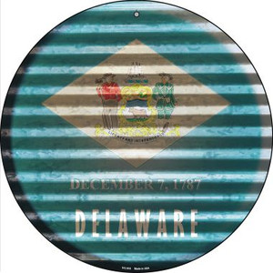 Delaware Flag Corrugated Effect Wholesale Novelty Small Metal Circular Sign UC-918