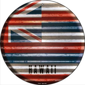 Hawaii Flag Corrugated Effect Wholesale Novelty Small Metal Circular Sign UC-921
