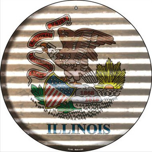 Illinois Flag Corrugated Effect Wholesale Novelty Small Metal Circular Sign UC-923