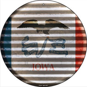 Iowa Flag Corrugated Effect Wholesale Novelty Small Metal Circular Sign UC-925