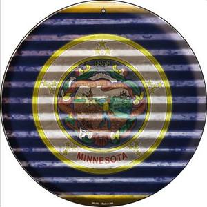 Minnesota Flag Corrugated Effect Wholesale Novelty Small Metal Circular Sign UC-933
