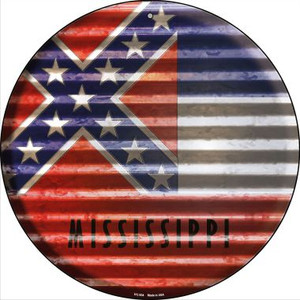 Mississippi Flag Corrugated Effect Wholesale Novelty Small Metal Circular Sign UC-934