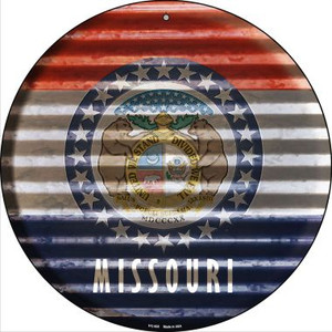 Missouri Flag Corrugated Effect Wholesale Novelty Small Metal Circular Sign UC-935