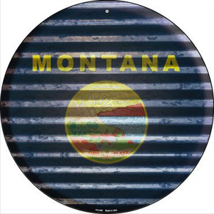 Montana Flag Corrugated Effect Wholesale Novelty Small Metal Circular Sign UC-936