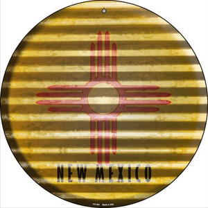 New Mexico Flag Corrugated Effect Wholesale Novelty Small Metal Circular Sign UC-941