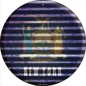 New York Flag Corrugated Effect Wholesale Novelty Small Metal Circular Sign UC-942