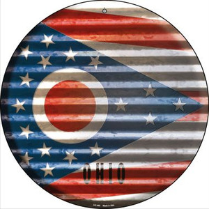 Ohio Flag Corrugated Effect Wholesale Novelty Small Metal Circular Sign UC-945