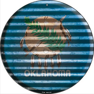 Oklahoma Flag Corrugated Effect Wholesale Novelty Small Metal Circular Sign UC-946
