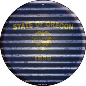 Oregon Flag Corrugated Effect Wholesale Novelty Small Metal Circular Sign UC-947