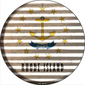 Rhode Island Flag Corrugated Effect Wholesale Novelty Small Metal Circular Sign UC-949