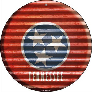 Tennessee Flag Corrugated Effect Wholesale Novelty Small Metal Circular Sign UC-952