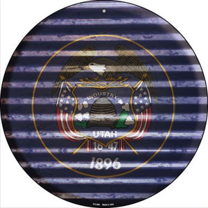 Utah Flag Corrugated Effect Wholesale Novelty Small Metal Circular Sign UC-954