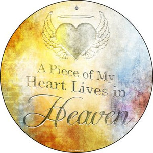 Heart Lives In Heaven Wholesale Novelty Small Metal Circular Sign UC-972