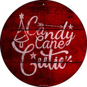 Candy Cane Cutie Wholesale Novelty Small Metal Circular Sign UC-994