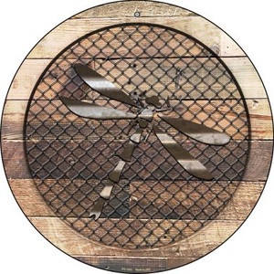 Corrugated Dragonfly on Wood Wholesale Novelty Small Metal Circular Sign UC-1032