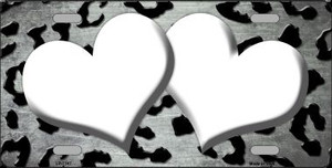 White Black Cheetah Hearts Print Oil Rubbed Wholesale Metal Novelty License Plate