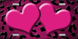 Pink Black Cheetah Hearts Print Oil Rubbed Wholesale Metal Novelty License Plate