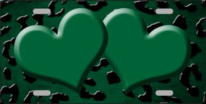 Green Black Cheetah Hearts Print Oil Rubbed Wholesale Metal Novelty License Plate