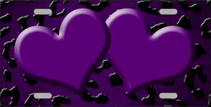 Purple Black Cheetah Hearts Print Oil Rubbed Wholesale Metal Novelty License Plate