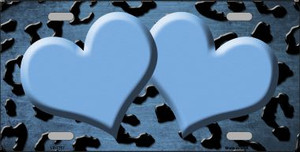 Light Blue Black Cheetah Hearts Print Oil Rubbed Wholesale Metal Novelty License Plate