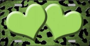 Lime Green Black Cheetah Hearts Print Oil Rubbed Wholesale Metal Novelty License Plate