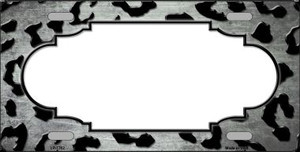 White Black Cheetah Scallop Print Oil Rubbed Wholesale Metal Novelty License Plate