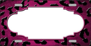 Pink White Black Cheetah Scallop Print Oil Rubbed Wholesale Metal Novelty License Plate