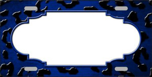 Blue Black Cheetah Scallop Print Oil Rubbed Wholesale Metal Novelty License Plate