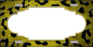 Yellow Black Cheetah Scallop Print Oil Rubbed Wholesale Metal Novelty License Plate