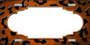 Orange Black Cheetah Scallop Print Oil Rubbed Wholesale Metal Novelty License Plate