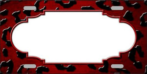 Red Black Cheetah Scallop Print Oil Rubbed Wholesale Metal Novelty License Plate