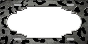 Gray Black Cheetah Scallop Print Oil Rubbed Wholesale Metal Novelty License Plate