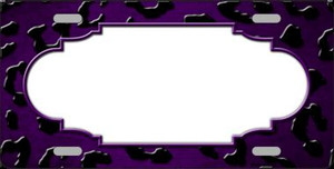 Purple Black Cheetah Scallop Print Oil Rubbed Wholesale Metal Novelty License Plate