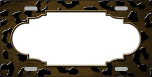 Brown Black Cheetah Scallop Print Oil Rubbed Wholesale Metal Novelty License Plate