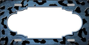 Light Blue Black Cheetah Scallop Print Oil Rubbed Wholesale Metal Novelty License Plate