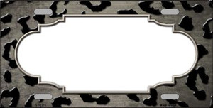 Tan Black Cheetah Scallop Print Oil Rubbed Wholesale Metal Novelty License Plate