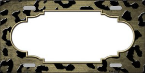 Gold Black Cheetah Scallop Print Oil Rubbed Wholesale Metal Novelty License Plate