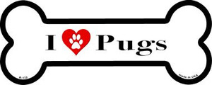 I Love Pugs Wholesale Novelty Metal Bone Magnet B-132