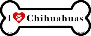 I Love Chihuahuas Wholesale Novelty Metal Bone Magnet B-133