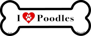 I Love Poodles Wholesale Novelty Metal Bone Magnet B-135