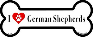 I Love German Shepherds Wholesale Novelty Metal Bone Magnet B-138