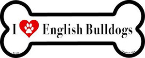 I Love English Bulldogs Wholesale Novelty Metal Bone Magnet B-142