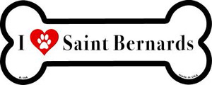 I Love Saint Bernards Wholesale Novelty Metal Bone Magnet B-144v