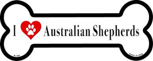 I Love Australian Shepherds Wholesale Novelty Metal Bone Magnet B-145