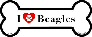 I Love Beagles Wholesale Novelty Metal Bone Magnet B-154