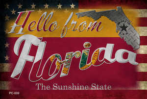 Hello From Florida Wholesale Novelty Metal Postcard PC-009