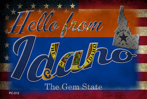 Hello From Idaho Wholesale Novelty Metal Postcard PC-012