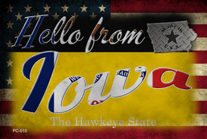 Hello From Iowa Wholesale Novelty Metal Postcard PC-015