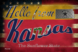 Hello From Kansas Wholesale Novelty Metal Postcard PC-016