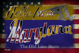 Hello From Maryland Wholesale Novelty Metal Postcard PC-020